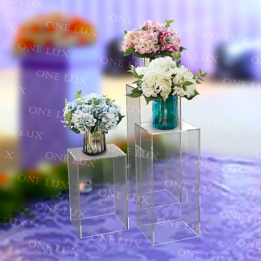 (3 Pieces/Lot )Crystal Acrylic Wedding/ Event /Party Floral Pedestals, Lucite flower stand ONE LUX event