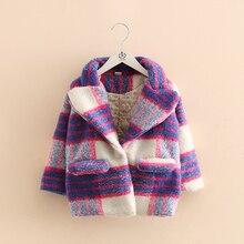 Baby cloth coat 2016 children han edition new winter girl children s clothing grid coat wt
