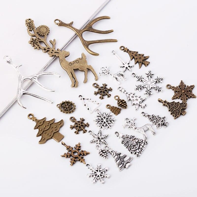 Винтаж металлические рождественские прелести мода ручной DIY Аксессуары Классический подвески для ювелирных изделий 100 шт./лот