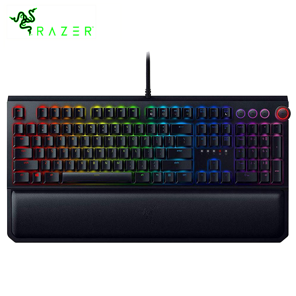 Razer blackveuve Elite RGB clavier mécanique de jeu commutateurs verts avec des contrôles de médias dédiés repose-poignet pour PC Gamer