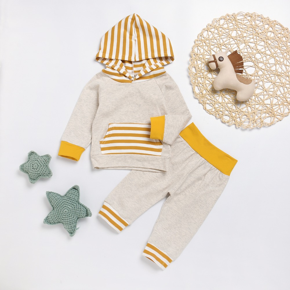 Spring Infant Baby Clothes Sets Cotton Hooded Sweatshirt Tops Pants Newborn Boys Girls Outfits Yellow Stripes Kids Tracksuits