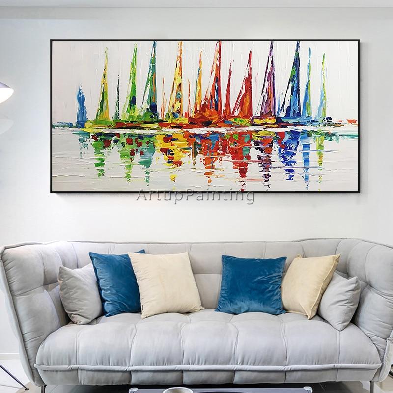 Akrylowy jacht statek łódź żeglarstwo malarstwo ręcznie malowane - Wystrój domu - Zdjęcie 4