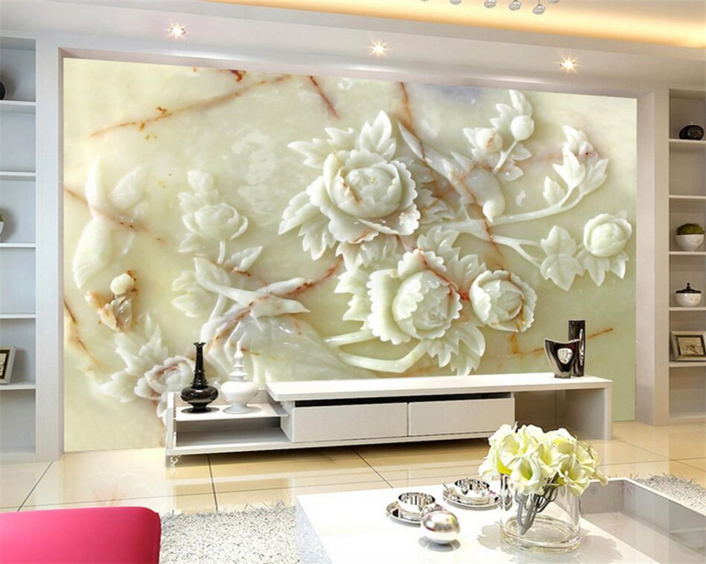 Décoration Murale En Relief us $8.85 41% off|beibehang modern home decoration mural relief white jade  emerald 3d luxury living room bedroom tv background wallpaper tapety|luxury