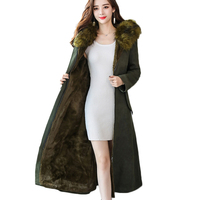 2019 winter high military jackets woman side split thermal thicken flocking maxi long suede jacket coat with a hood Fur coat
