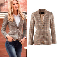 2018New Spring Autumn Europe America Women Fashion Office Lady Blazers British Style Classic Small Plaid Patch