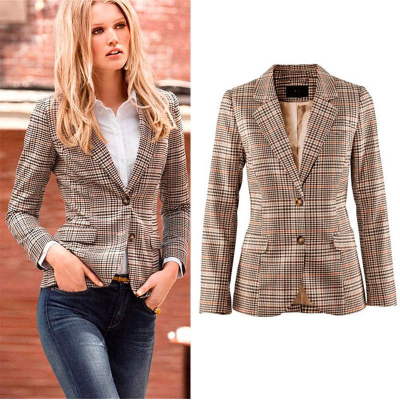 2018New Spring Autumn Europe America Women Fashion Office Lady Blazers British Style Classic Small Plaid Patch elbow Coat XZ8254