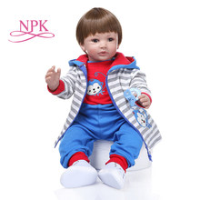 60CM reborn toddler boy doll with wig hair com corpo de soft silicone menina Christmas Gift lol doll bed time plamate(China)