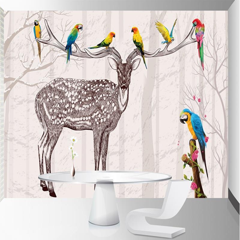 3D Modern Minimalist Forest Elk Bedroom Living Room Wallpaper TV Background Wall Custom Silk cloth seamless wall covering