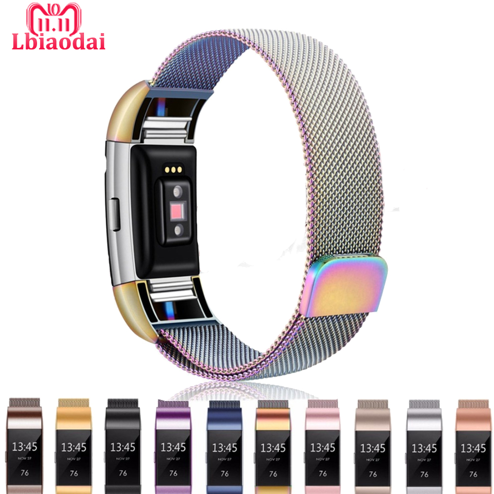 все цены на Milanese loop band for Fitbit Charge 2 bracelet wristband stainless steel Adjustable replacement wristband Magnetic closure онлайн