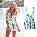 2016 Verão Floral Elegante Imprimir backless spaghetti strap caixilhos hot sexy praia vestido de verão das mulheres macacão plus size macacão