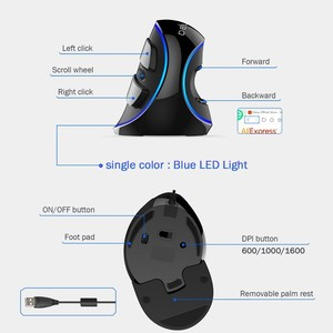 Image 3 - デラックス M618 プラス人間工学垂直有線マウス 6 ボタン 1600 dpi ブルー led とパームレスト pc オフィス