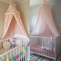 Nordic Style Kids Decoration Cotton Dome Mosquito Net Princess Baby Shed Valance Round Bed Hanging Canopy Awning Tent Pink A30