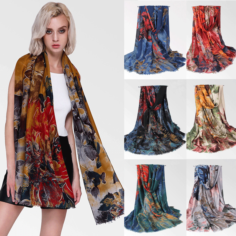 Women Shawl 2019 Print Ladies Long Scarf <font><b>90</b></font> x 180cm Soft Shawl Femme Beach Holiday Scarf 7 Color image
