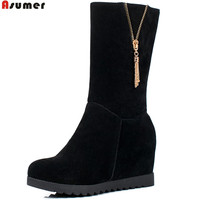 ASUMER 2018 Fashion New Arrive Women Boots Black Gray Army Green Zipper Ladies Boots Height Increasing