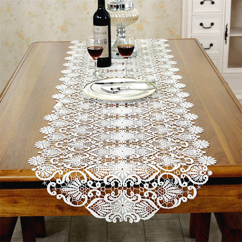 Dining Room Table Runner: White Embroidery Floral Table Runner Lace Hollow Table Mat