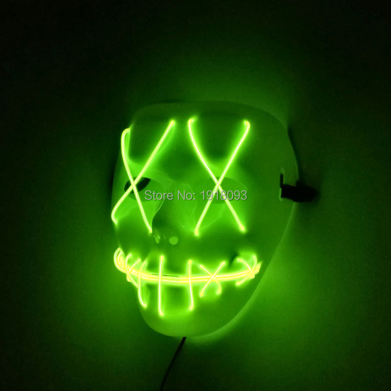 Hot Selling Holiday lighting EL wire Halloween Mask Movie Cartoon Mask Flashing Festival LED Neon Glowing Carnival Mask