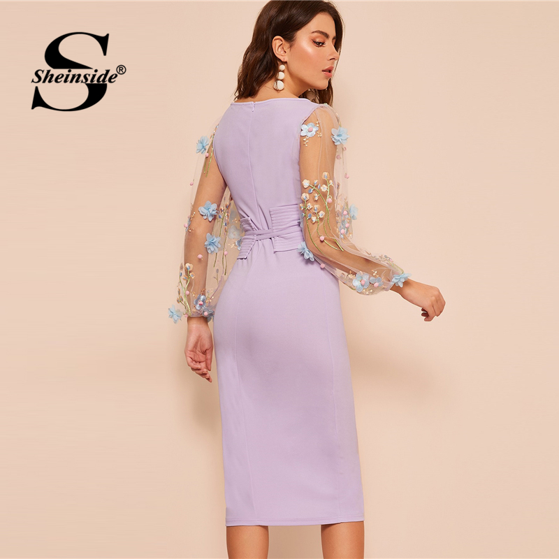 Image 2 - Sheinside Elegant Embroidered Applique Mesh Sleeve Dress Women  2020 Spring Lantern Sleeve Bodycon Dresses Ladies Belted DressDresses