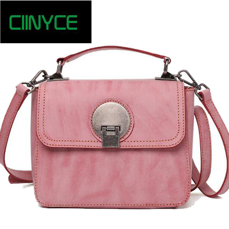 Fashion Women Cow Leather Handbags Pink Blue Grey Small Flap Tote Genuine Cowhide Skin Cross Body Shoulder messenger bags twenty four women brand flap bags natural genuine leather handbags with chain solid color cover small bags young cross body bags