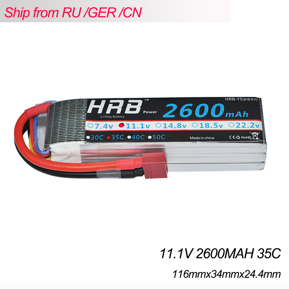 HRB rc lipo battery 11.1v 2600mah 35C Max 70C 3S Litjium AKKU Bateria for RC Helicopter Quadcopter Airplane Car AKKU 1s 2s 3s 4s 5s 6s 7s 8s lipo battery balance connector for rc model battery esc