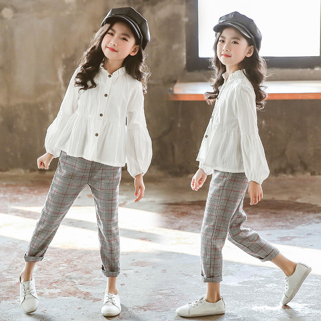 Girls Clothing Sets Suit For Girls Outfits Tops Blouse + Pants Stylish Gentle Teenager Girl Clothes Teen Korean Spring Fashion 2
