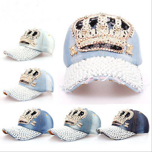 2014 new Crown Point drill pearl cowboy denim women baseball cap men Hat  rhinestone print 5 c4dabc121afc