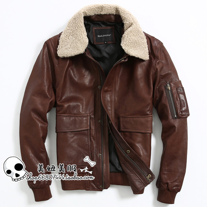 Brown Leather Flight Jacket Promotion-Shop for Promotional Brown ...