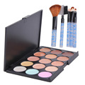 15 Colors Facial Face Care Cream Concealer Palette with 5pcs Eye Shadow Eyebrow Lip Brush Foundation Powder Brush Makeup Set