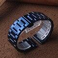 Ремешок для часов темно-синего цвета из нержавеющей стали с металлической пряжкой-бабочкой 20 мм 22 мм аксессуары для часов для замены наручн...