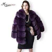M.Y.FANSTY 2019 Women Winter Purple Fur Coat With Fur Hood Outerwear Draped Real Fox Lady Bat Long Sleeve Fur Jacket Fox Coats