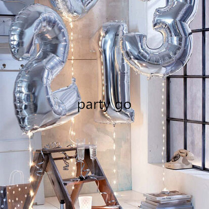50pcs 40 inch High Quality Silver Digital 0 9 Foil Balloons Birthday Party Wedding Decoration Number