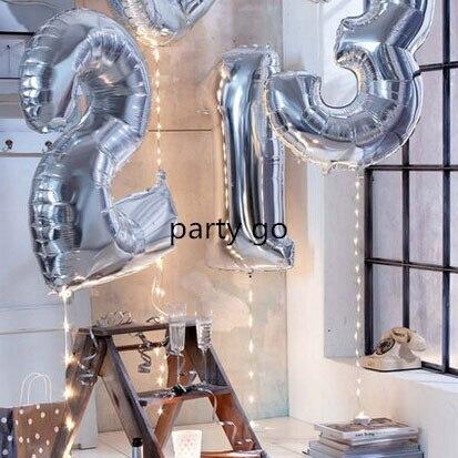 50 قطع 40 بوصة عالية الجودة الفضة الرقمية 0 9 عدد احباط بالونات عيد ميلاد حفل زفاف الديكور بالون نفخ اللعب-في بالونات واكسسوارات من المنزل والحديقة على  مجموعة 1