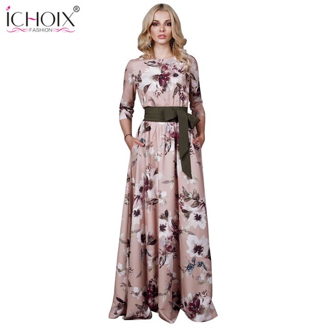 7d5968c6e6 2018 Autumn Long Dress Women Vintage Floral Print Female Evening Party Maxi  Dress Style Boho Elegant Bodycon Floor Length Dress