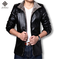 2016 Кожаные Куртки Мужчины Пальто Зима Теплая Мотоцикл Кожаная Куртка мужская Мода Роскошные Кожаные Мужские Меховые Пальто PU Куртка