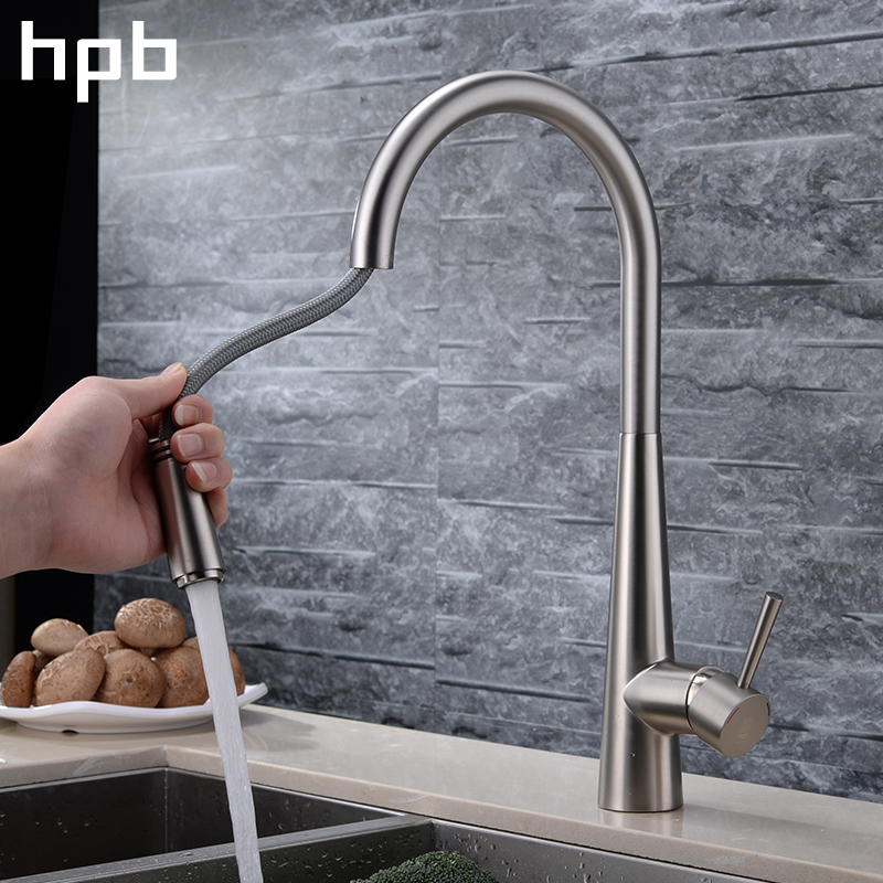 HPB Brass Chrome Brushed Pull Out Spray Faucet for Kitchen Single Handle Mixer Tap Deck Mounted Hot And Cold Water HP4101 kitchen chrome plated brass faucet single handle pull out pull down sink mixer hot and cold tap modern design