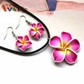 AMGJ Rose Red Hawaii Flowers Crystal Polymer Clay Earrings Pendant Necklace Set