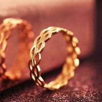 Одноцветное AU750 розового золота кольцо Для женщин полые кольцо