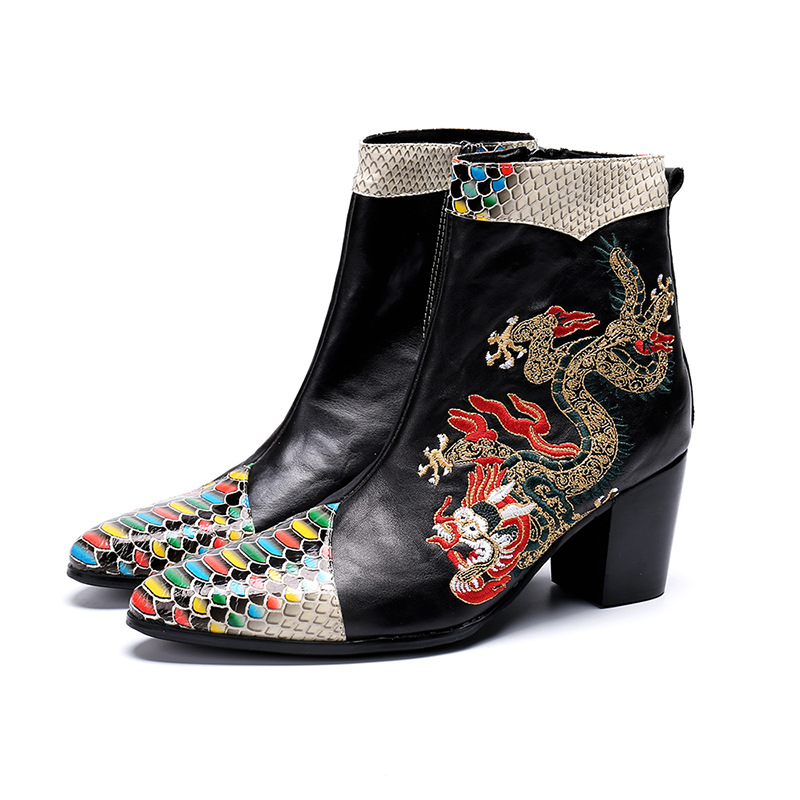 Fashion Men Pointed Toe Dragon Party Wedding Dress Boots Ankle Boots Men Height Increasing Shoes