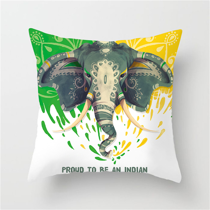 Fuwatacchi Indian Style Cushion Cover Elephant Leopard Printed Pillow Cover For Home Sofa Chair Decorative Square Pillow Case in Cushion Cover from Home Garden