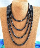 NEW Top fashion charming 7 8mm black freshwater pearl necklace 80