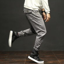 Autumn Fashion Classical Men Jeans Jogger Pants Gray Color Multi Pockets Cargo Wild Military Ankle Banded Long