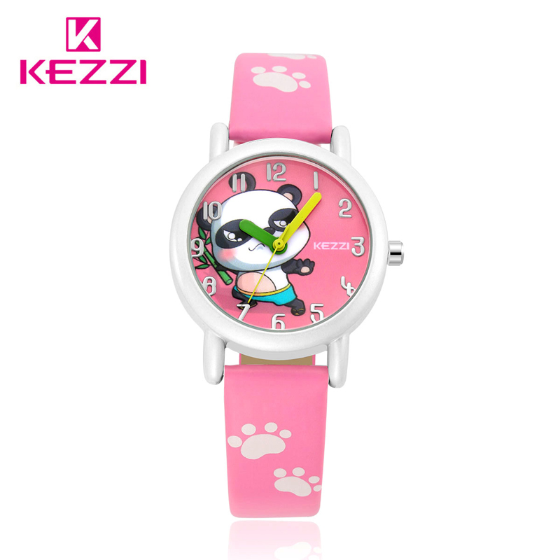 Cartoon Children Watches Fashion Girl Bear Pattern Kids waterproof Watch Cute Student Leather Strap Wrist watch Relogio