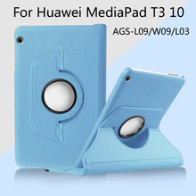 360 Degree Rotating Skin Cover Case For Huawei MediaPad T3 10 AGS-L03 AGS-L09 AGS-W09 9.6 inch Tablet(China)