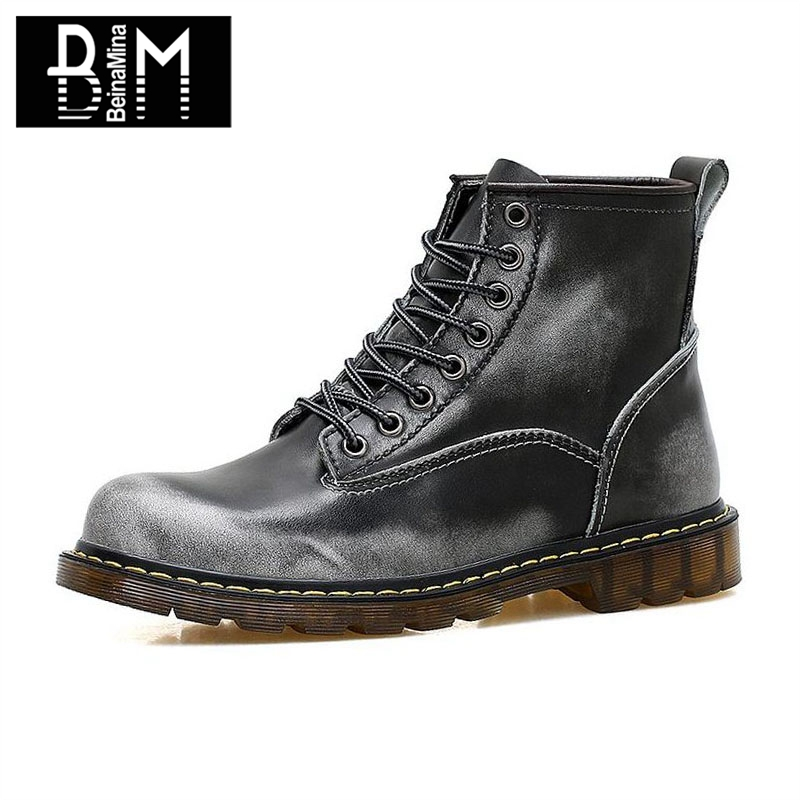 BEINAMINA 4 Color Winter Men Real Leather Ankle Boots High Quality Lace Up Boots Warm Fur Work Shoes Male Footwear Size 38-44 xiaguocai new arrival real leather casual shoes men boots with fur warm men winter shoes fashion lace up flats ankle boots h599