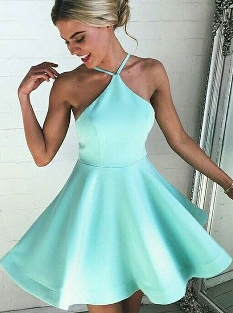 9ea8d77d963 Vestido de noche 2019 Tiffany Bule A-Line Short Prom Dress Sleeveless  Backless Evening dresses Formal Dresses Robe de soiree