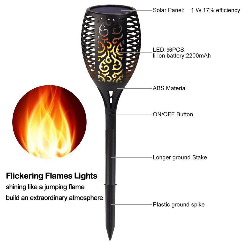 LED Solar Flame Flickering Lawn Lamps Led Torch Light Realistic Dancing Flame Light Waterproof Outdoor Garden Decor Flame Lamp in Solar Lamps from Lights Lighting