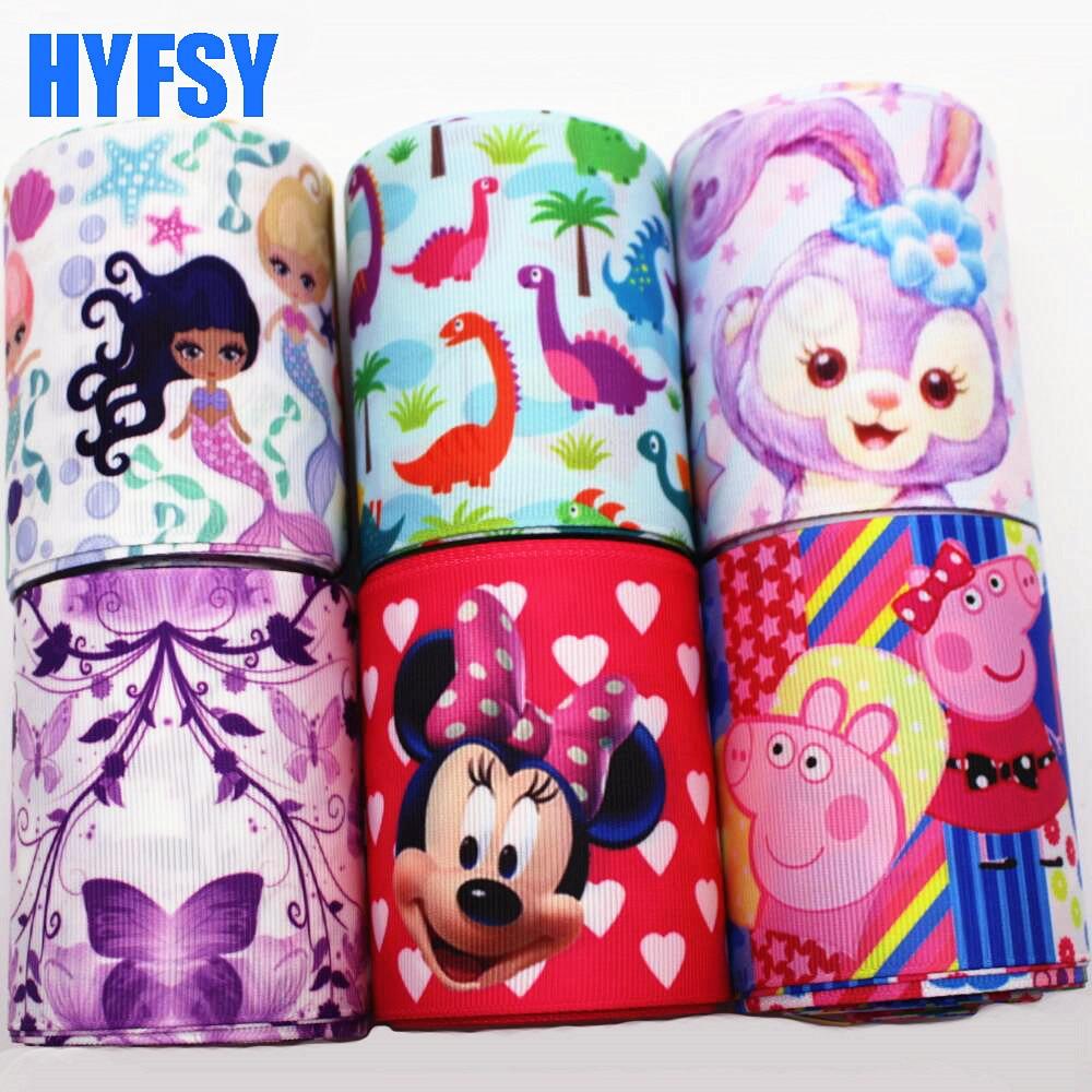 Hyfsy 10071 75 мм DIY материалы ручной работы подарочная упаковка Головные уборы мультфильм ленты Grosgrain ленты 5 метров