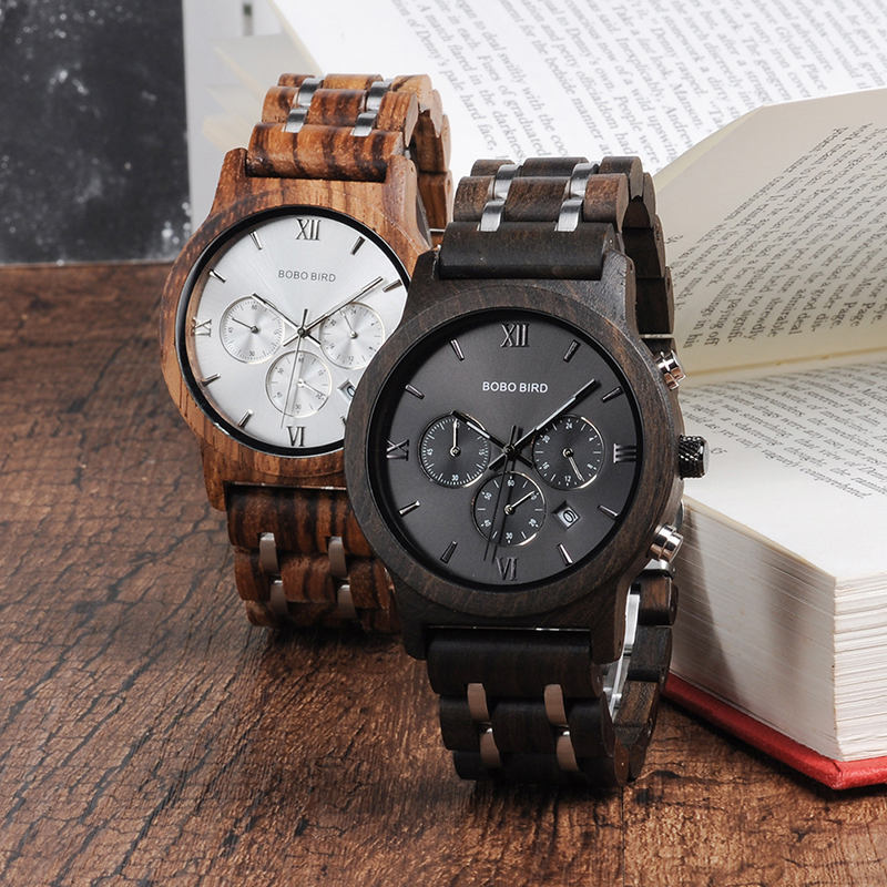 Bamboo Wooden Business Luxury Stop Watch w/ Stainless Steel Band 2