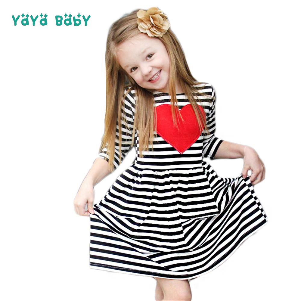 1 2 3 4 5 Year Girls Dress New Striped Cotton Kids Dresses for Girl Red Heart Lovely Three Quarter Sleeve Children Clothing ...