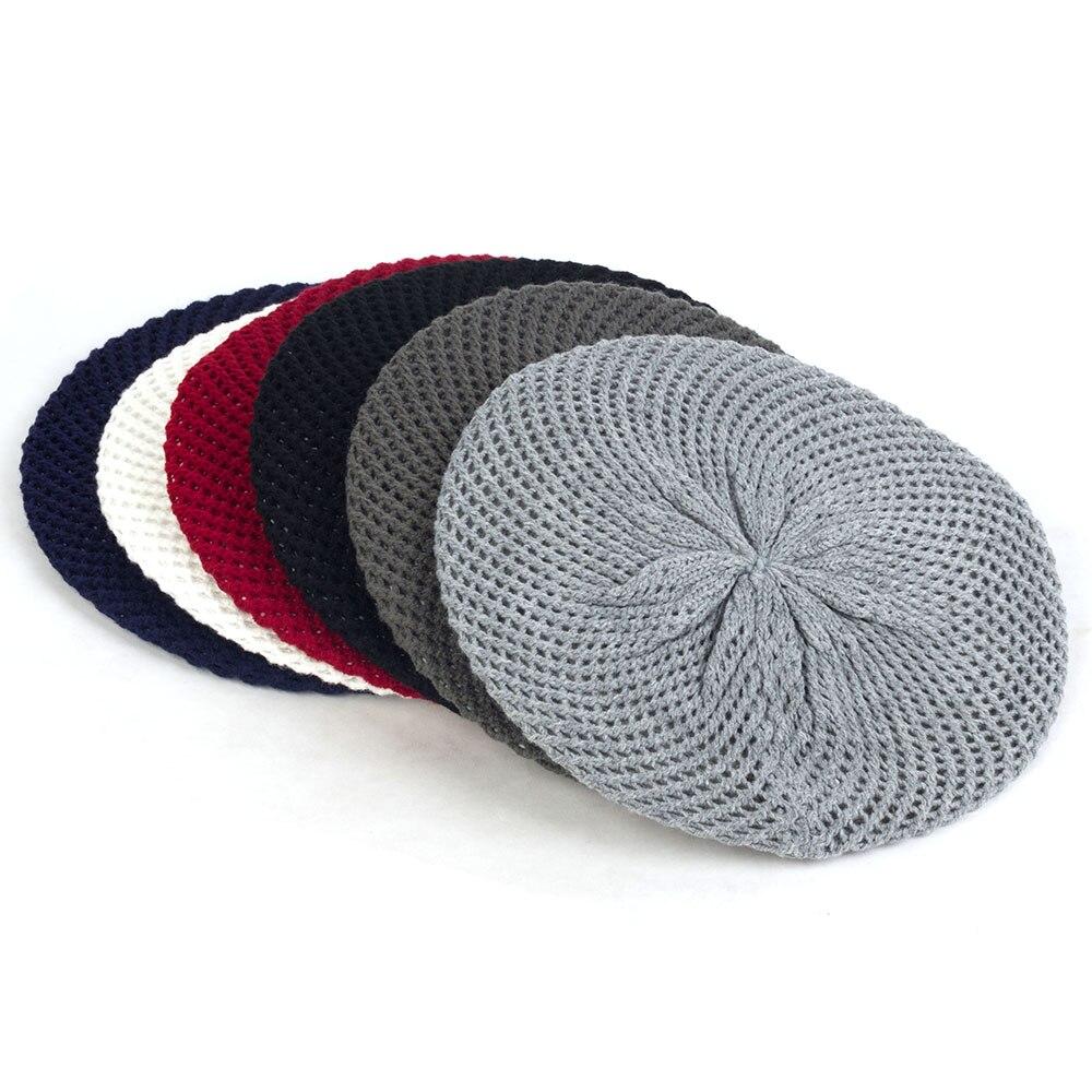 Женские двухслойные шерстяные вязаные шапки-береты, теплые однотонные шапки с дырками, Повседневные вязаные шапки для зимы и весны