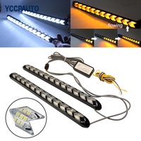 YCCPAUTO Car DRL Turn Signal Waterproof Lights Styling White Amber LED Knight Rider Strip Light Arrow